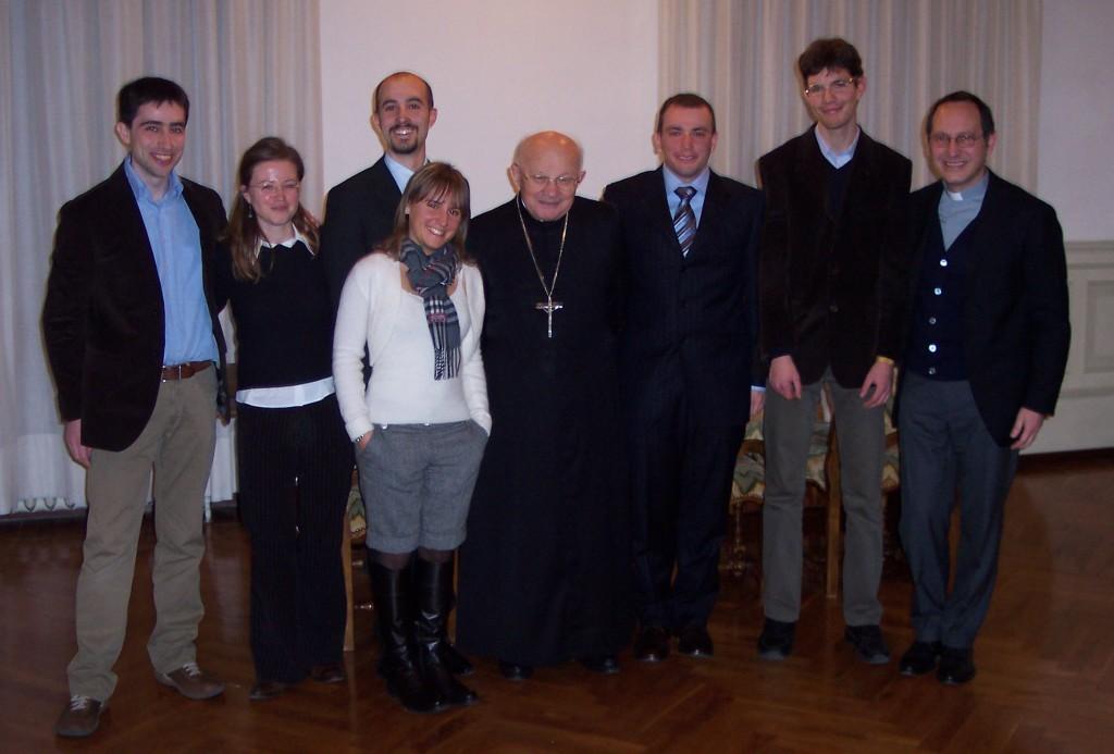 La FUCI bergamasca in udienza dal vescovo di Bergamo S. E. Mons. +Roberto Amadei.
