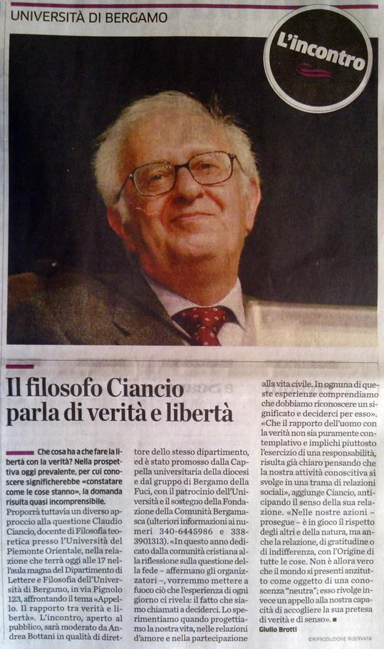 Claudio Ciancio: APPELLO. Il rapporto tra Verità e Libertà